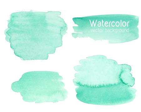 抽象的な水彩紙のテクスチャ背景のベクトルを設定します。手の描かれたミント水彩背景、濡れた紙に水彩色を染色します。招待状、スクラップ ブ
