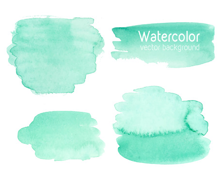Vector set of abstract watercolor background with paper texture. Hand drawn mint watercolor backdrop, stain watercolors colors on wet paper. Good for invitations, scrapbooking, banners, tags, labels, etc Çizim