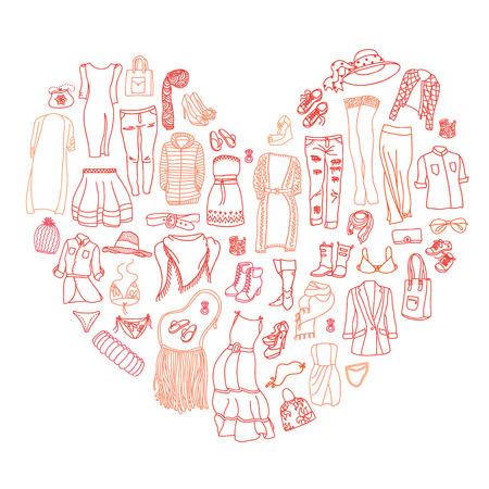 outerwear: Vector set di diverse donne abiti e accessori, biancheria intima da a capospalla. Doodle collezione di moda, forma di cuore. L'amore per fare shopping.
