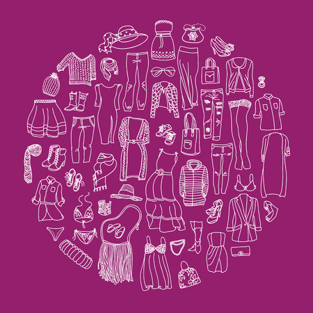 outerwear: Vector set di diverse donne abiti e accessori, biancheria intima da a capospalla. Doodle collezione di moda, si raggruppano in cerchio.