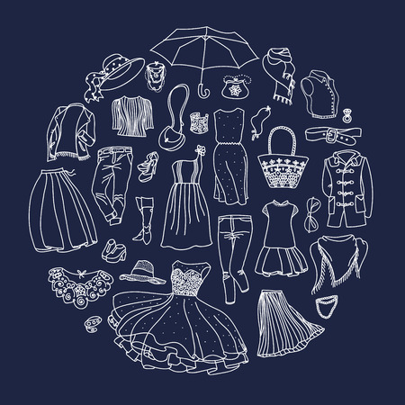 Vector set of different women clothes and accessories, from underwear to outerwear. Fashion doodle collection, groupped in circle.