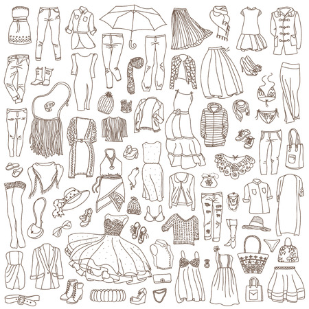 Vector set of different women clothes and accessories, from underwear to outerwear. Fashion doodle collection. Illustration