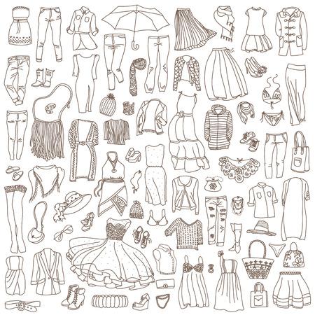 outerwear: Vector set di diverse donne abiti e accessori, biancheria intima da a capospalla. Doodle collection di moda.