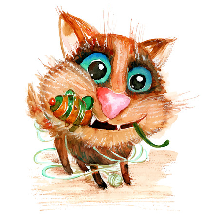 Handdrawn watercolor funny cat with toy mouse. Ideal for postcards, gift tags and other printed stuff.