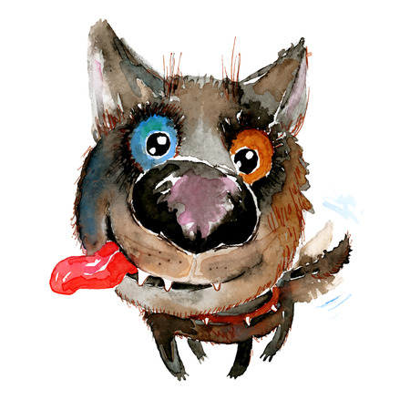 Handdrawn watercolor happy funny dog. Ideal for postcards, gift tags and other printed stuff.