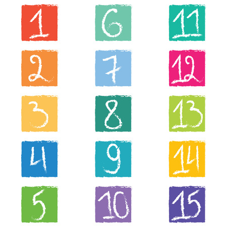 6 12: Set of fifteen colorful number tags in squares with jagged edges. Illustration