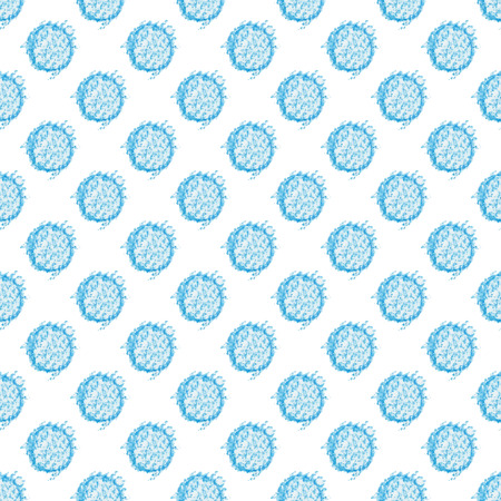 Vector seamless spotted pattern. Polka dot pattern hand drawn with blue watercolor pencil.