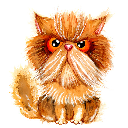 Handdrawn watercolor grumpy persian cat. Ideal for postcards, gift tags and other printed stuff.