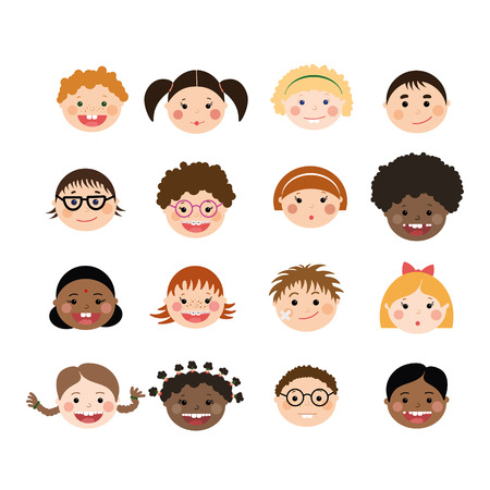 Vector set of children smiling faces. Children with different skin color, boys and girls with hairstyles, glasses, braces. Stock Illustratie