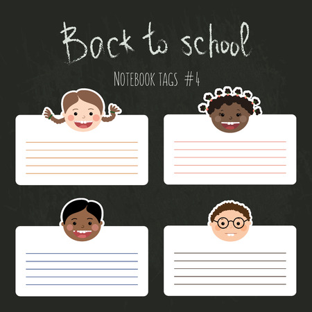 Vector set of funny school tags for notebooks with chlidrens smiling faces. Boys and girls with different color skin, hairstyles, braces and glasses. Illustration