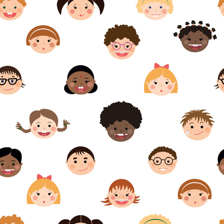 Vector sseamless pattern with chlidrens smiling faces. Boys and girls with different color skin, hairstyles, braces and glasses.