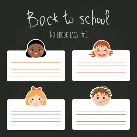 classes schedule: Vector set of funny school tags for notebooks with chlidrens smiling faces. Boys and girls with different color skin, hairstyles, braces and glasses. Illustration