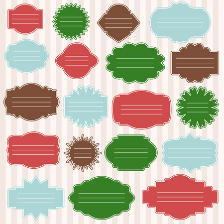 Vector set of gift tags for christmas presents. Different shaped labels with space for text.