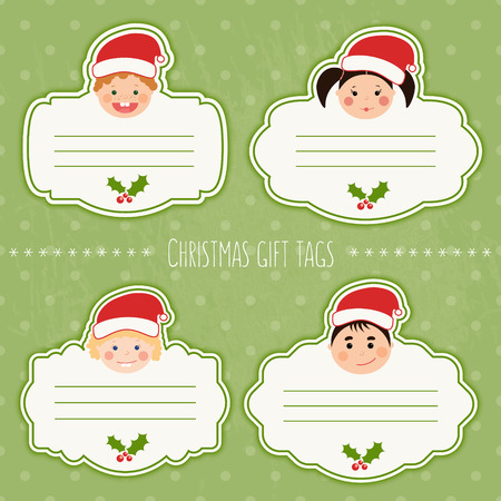 Vector set of funny christmas gift tags for presents with childrens smiling faces. Boys and girls with different color skin, hairstyles, braces and glasses.