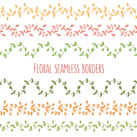 Vector set of six floral seamless borders with branches and leaves. Good for invitations, printed stuff, stationery.