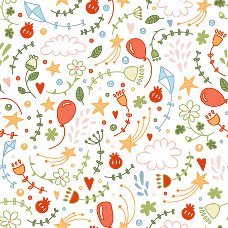 stationery background: Vector seamless doodle floral pattern. Good ornamental hand drawn background with flowers and stars for children stuff, printed works, invitations, stationery. Illustration