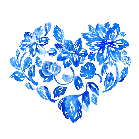 Vector watercolor flower heart. Hand drawn symbol of love and marriage. Good for Valentines Day cards.
