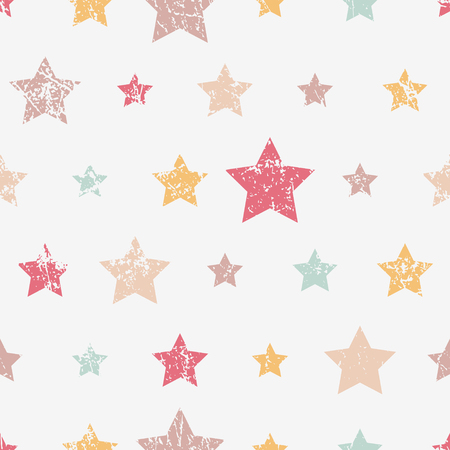 Vector seamless childish pattern with stars. Grunge style, shabby street art imitation. Vintage old paper texture. Illustration