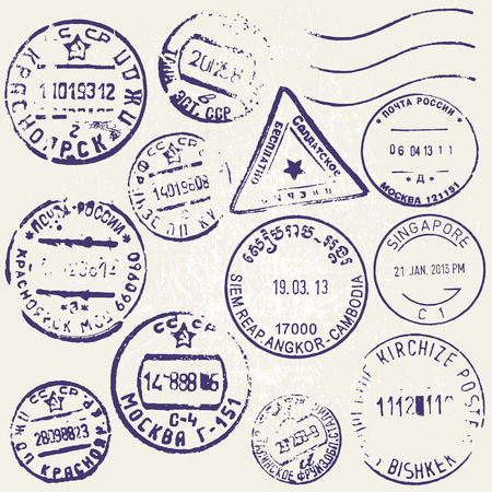 Vector set of vintage postage stamps from countries all over the world. Grunge style. Ilustrace