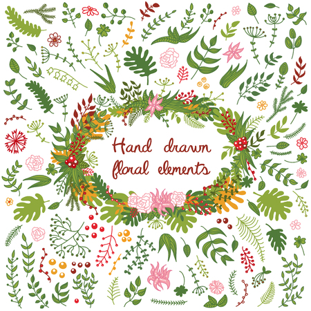 Vector set of hand drawn floral elements - flowers, branches, leaves. Good as elements for different seasonal wreaths, decorative borders and frames. Illustration