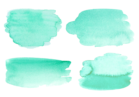 Set of abstract watercolor background with paper texture. Hand drawn mint watercolor backdrop, stain watercolors colors on wet paper. No tracing. Isolated on white background. Good for invitations, scrapbooking, banners, tags, labels, etc Stock Photo