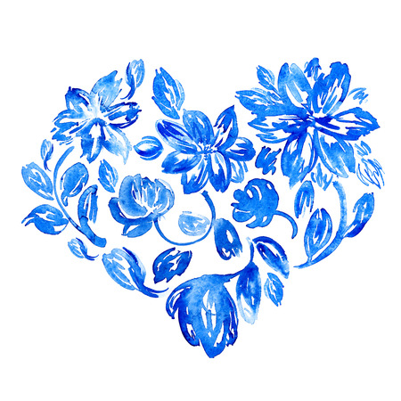 Watercolor flower heart. Hand drawn symbol of love and marriage. Hand drawn illustration without tracing. Good for Valentines Day cards. Stock Photo