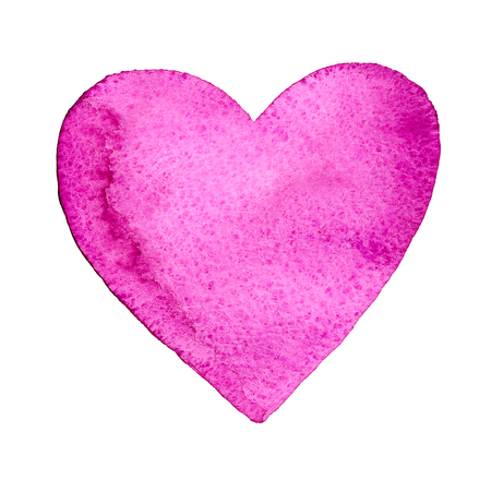 Watercolor hand drawn heart with paper texture. No tracing, isolated on white background. Good for invitations, scrapbooking, banners, tags, labels, etc
