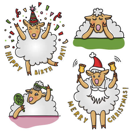 doze: Vector set of funny sheep with different emotions. Cartoon animal characters, good for stickers, childrens stuff, printed materials.