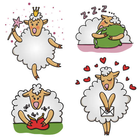 sheep love: Vector set of funny sheep with different emotions. Cartoon animal characters, good for stickers, childrens stuff, printed materials.