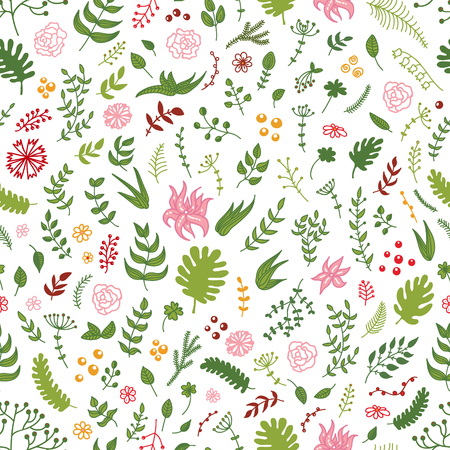 Vector seamless hand drawn floral pattern - flowers, branches, leaves. Good as elements for different seasonal wreaths, decorative borders and frames. Illustration