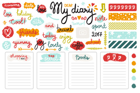 set of hand drawn sketch elements and words for girl's diary. Colorful doodle style. Page templates, color palettes and lettering.