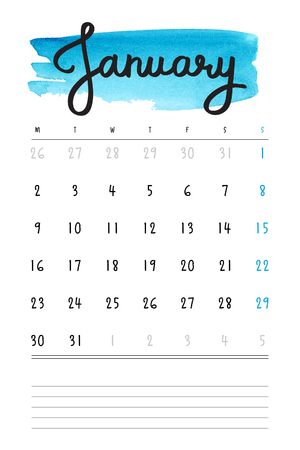 calendar: calendar 2017 template with blue watercolor stain and lines for notes. Hand drawn lettering - winter month - January 2017.