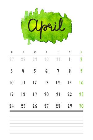 meses del a  ±o: calendario 2017 plantilla con manchas de acuarela verde y líneas de notas. dibujado a mano las letras - mes primavera - Abril de 2017. Vectores