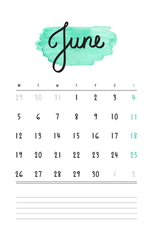 june: calendar 2017 template with mint watercolor stain and lines for notes. Hand drawn lettering - summer month - June 2017.