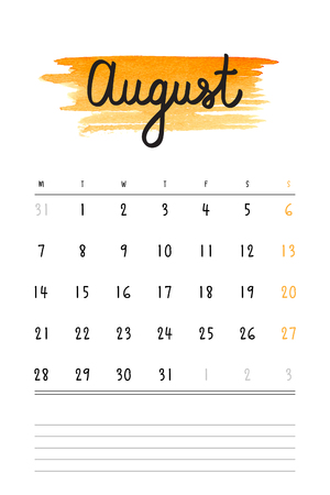 calendar: calendar 2017 template with orange watercolor stain and lines for notes. Hand drawn lettering - summer month - August 2017.