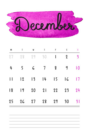 calendar: calendar 2017 template with purple watercolor stain and lines for notes. Hand drawn lettering - winter month - December 2017. Illustration