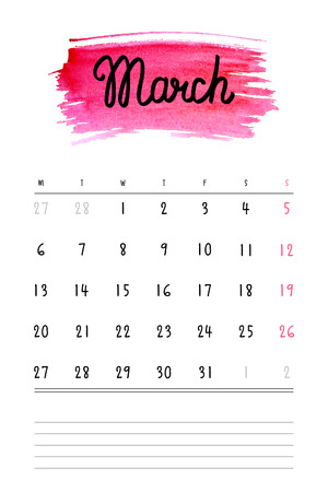 calendar: calendar 2017 template with pink watercolor stain and lines for notes. Hand drawn lettering - spring month - March 2017.