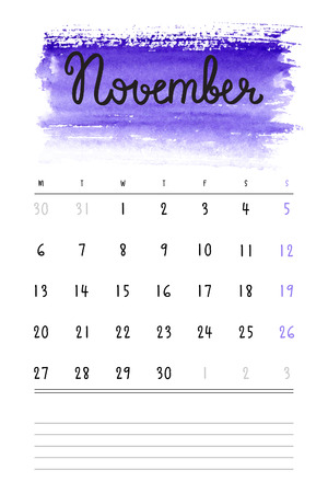 Vector calendar 2017 template with violet watercolor stain and lines for notes. Hand drawn lettering - autumn month - November 2017.