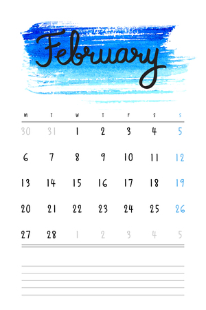 february calendar: Vector calendar 2017 template with bright blue watercolor stain and lines for notes. Hand drawn lettering - winter month - February 2017.