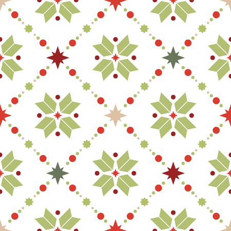 Vector seamless pattern of geometric snowflakes. Nordic pattern in Christmas traditional colors. Illustration