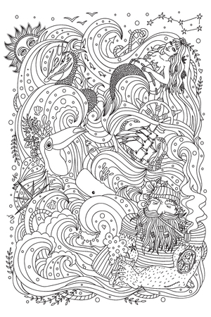 Monochrome ornament for adult coloring book. Sea theme - old sailor, mermaid, exotic creatures, ship, fishes, ocean waves.