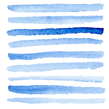 Vector watercolor blue stripes. Lines made with wet inked brush on white background. Illustration