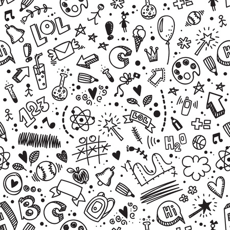 Vector seamless hand drawn doodle pattern. Back to school background. Kids style. Good for wrapping paper, notebook covers and other printed works. Illustration