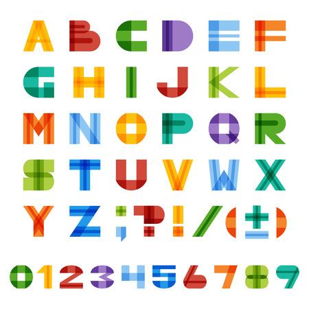 Geometric half-transparent square colorful English alphabet