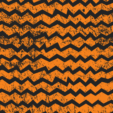 Vector seamless Halloween chevron pattern. Black and orange zigzag lines with shabby texture. Good for Halloween cards, polygraphy, stuff. Zdjęcie Seryjne - 85103096