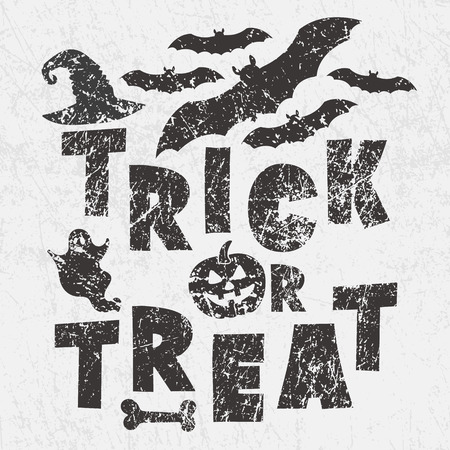 Trick or treat - traditional Halloween motto with scary symbols - pumkin Jack lantern, bats, ghost, witchs magic hat. Grunge style, shabby street art imitation. Vintage old paper texture.