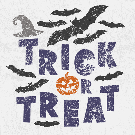 Trick or treat - traditional Halloween motto with scary symbols - pumkin Jack lantern, bats, witchs magic hat. Grunge style, shabby street art imitation. Vintage old paper texture.