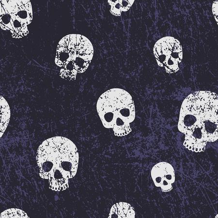 Vector seamless halloween pattern with skulls. Grunge style, shabby street art imitation. Vintage old paper texture. Illustration