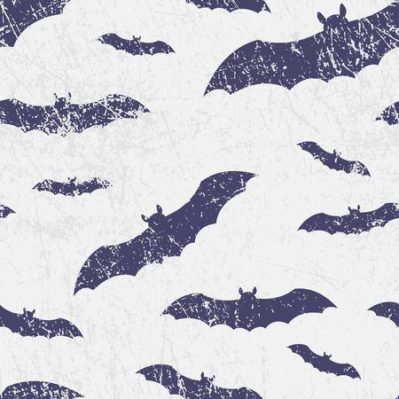 Vector seamless halloween pattern with bats. Grunge style, shabby street art imitation. Vintage old paper texture. Stock Vector - 85103098