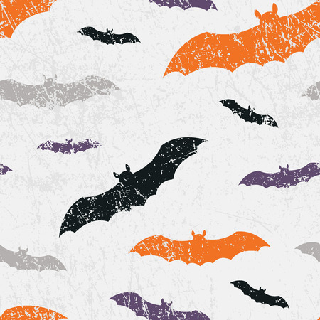 Vector seamless halloween pattern with bats. Grunge style, shabby street art imitation. Vintage old paper texture.